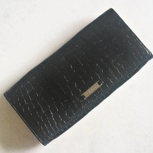 Cole Haan croc embossed patent leather clutch bag